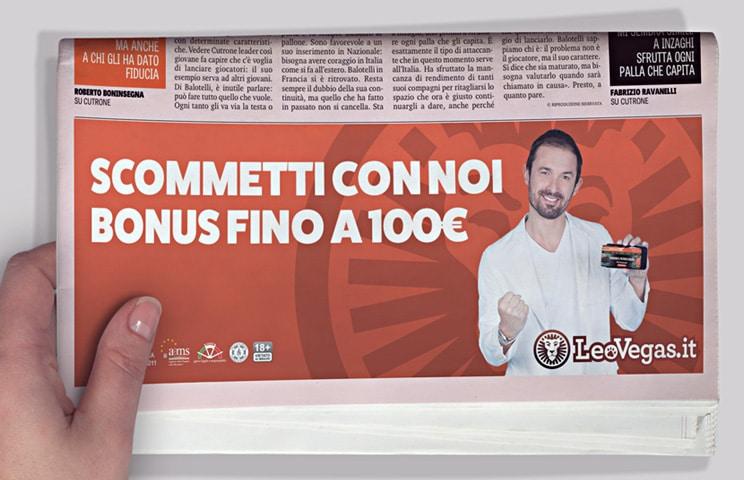 Gianluca Impastato testimonial Leovegas nella campagna di comunicazione sulla Gazzetta dello Sport